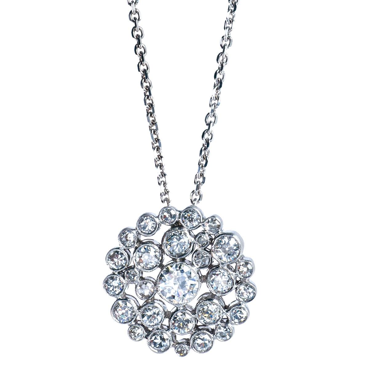 Vintage 2.93 CTW Diamond Cluster Pendant