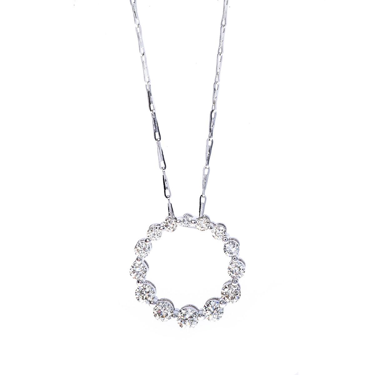 Oro Alexander 0.77 CTW Diamond Circle Pendant