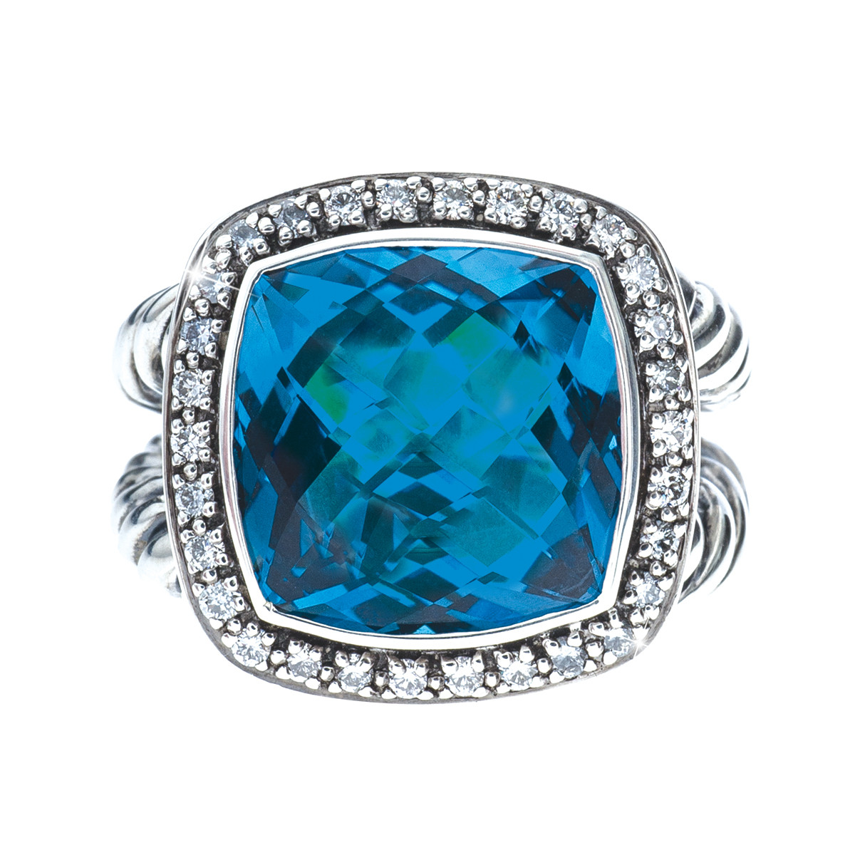 Vintage David Yurman Blue Topaz and Diamond Ring