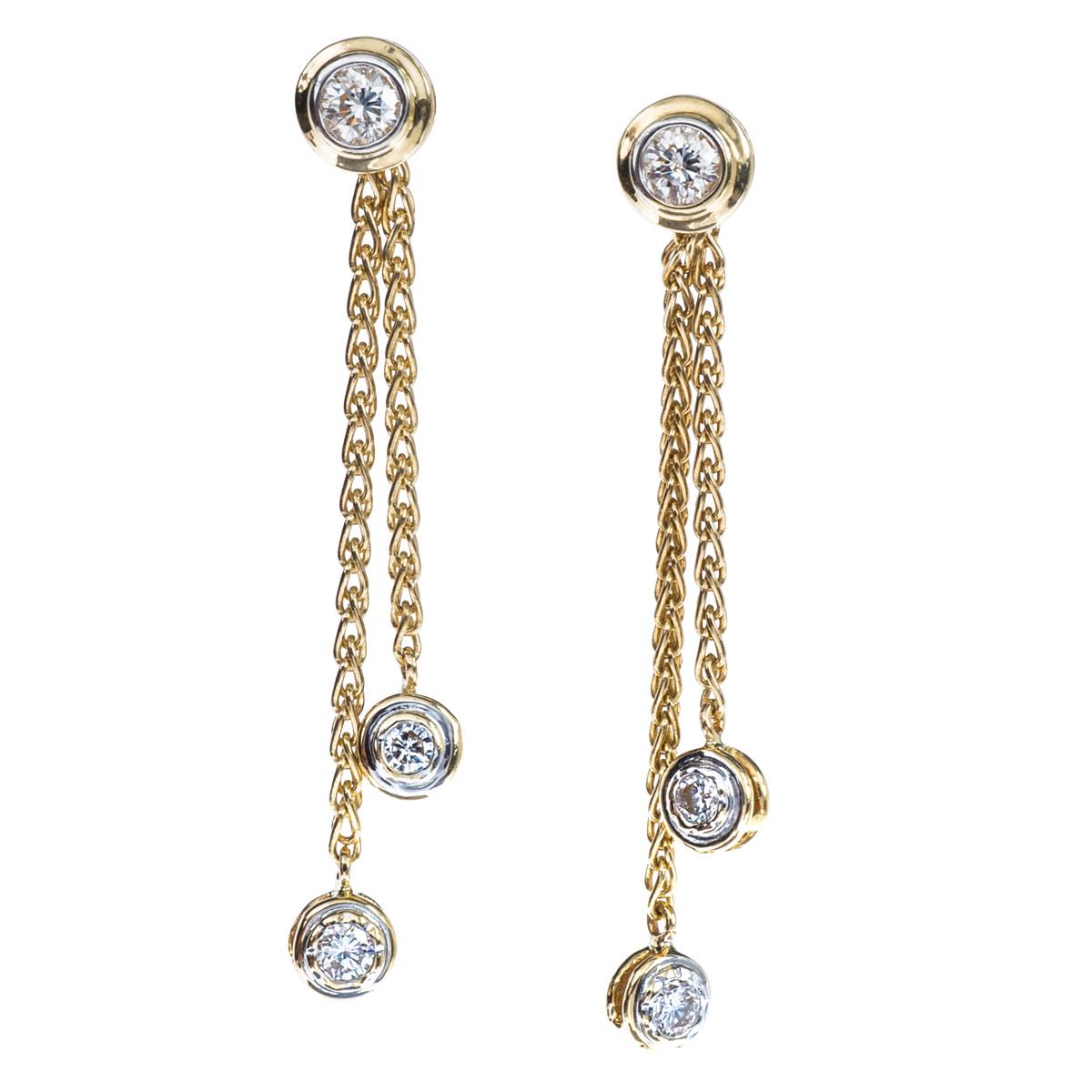 Vintage 1.04 CTW Diamond Dangle Earrings