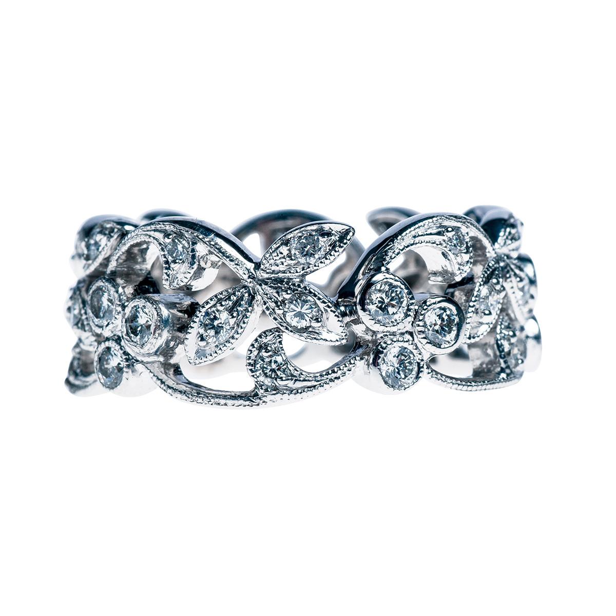 Vintage 0.66 CTW Diamond Leaf Eternity Ring