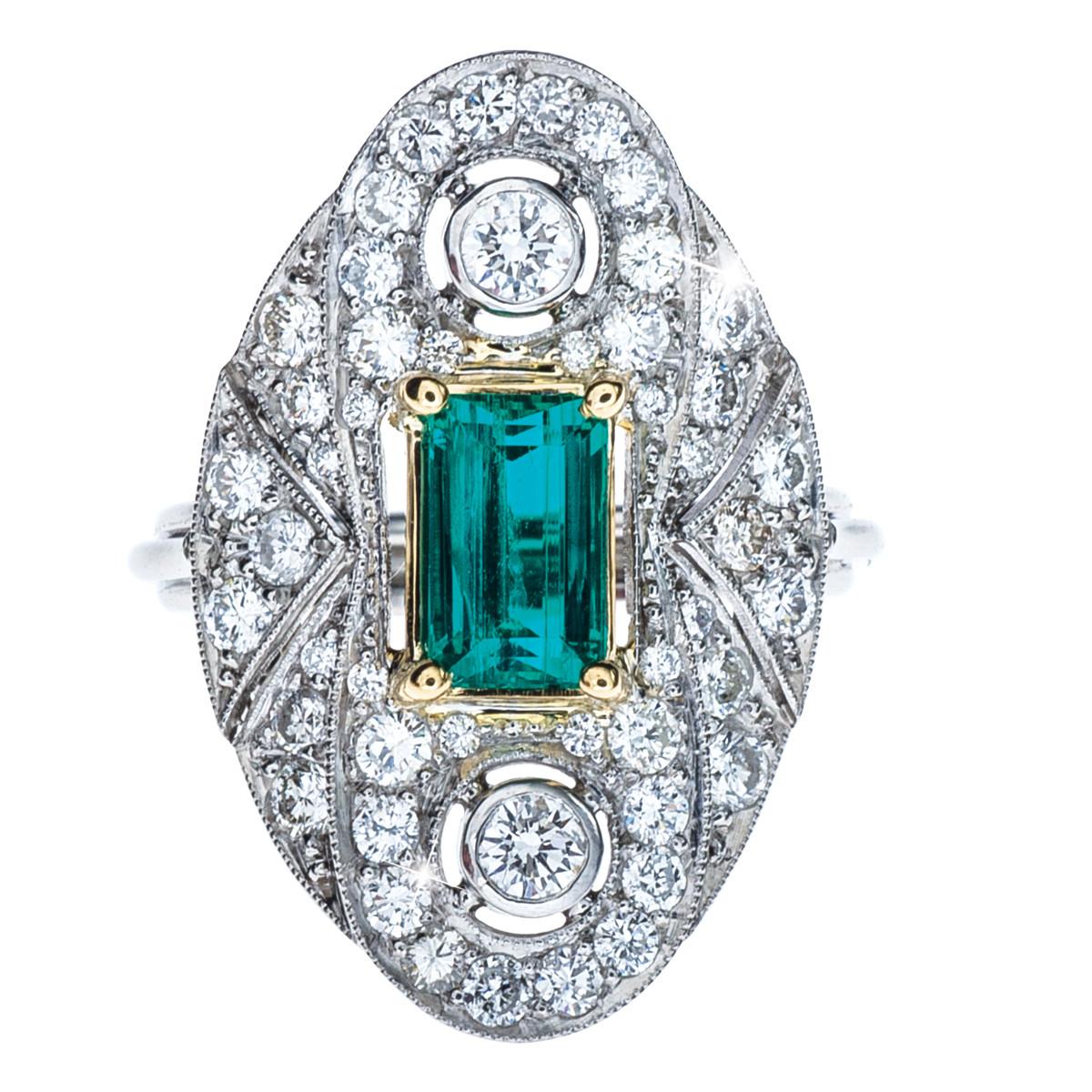 1.45 CT Emerald & 1.50 CTW Diamond Ring