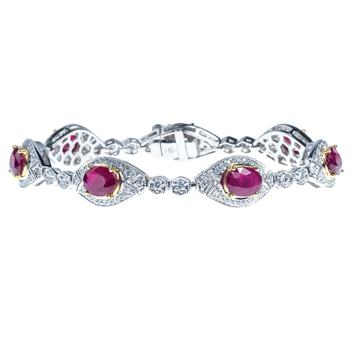 10.01 CTW Natural Ruby and Diamond Bracelet