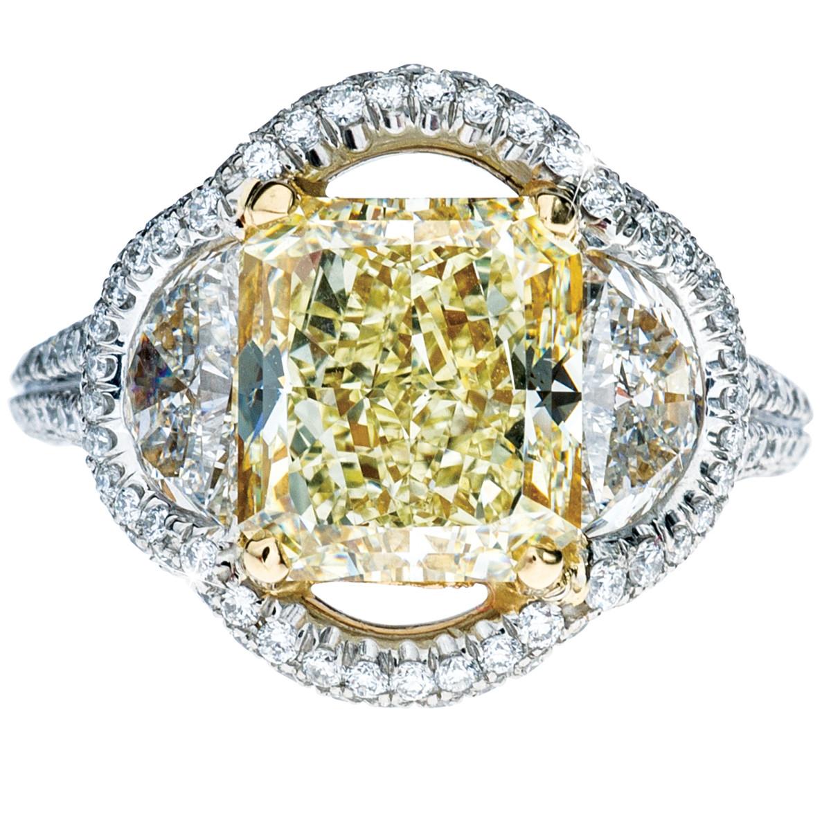 Vintage 6.19 CTW Yellow & White Diamond Halo Engagement Ring