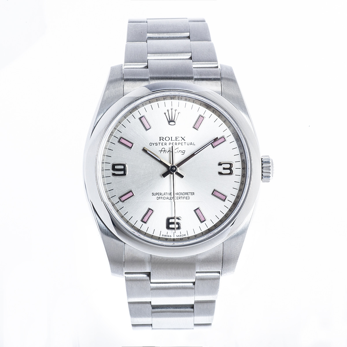 Pre-Owned Stainless Steel Rolex Air-King with Silver Dial