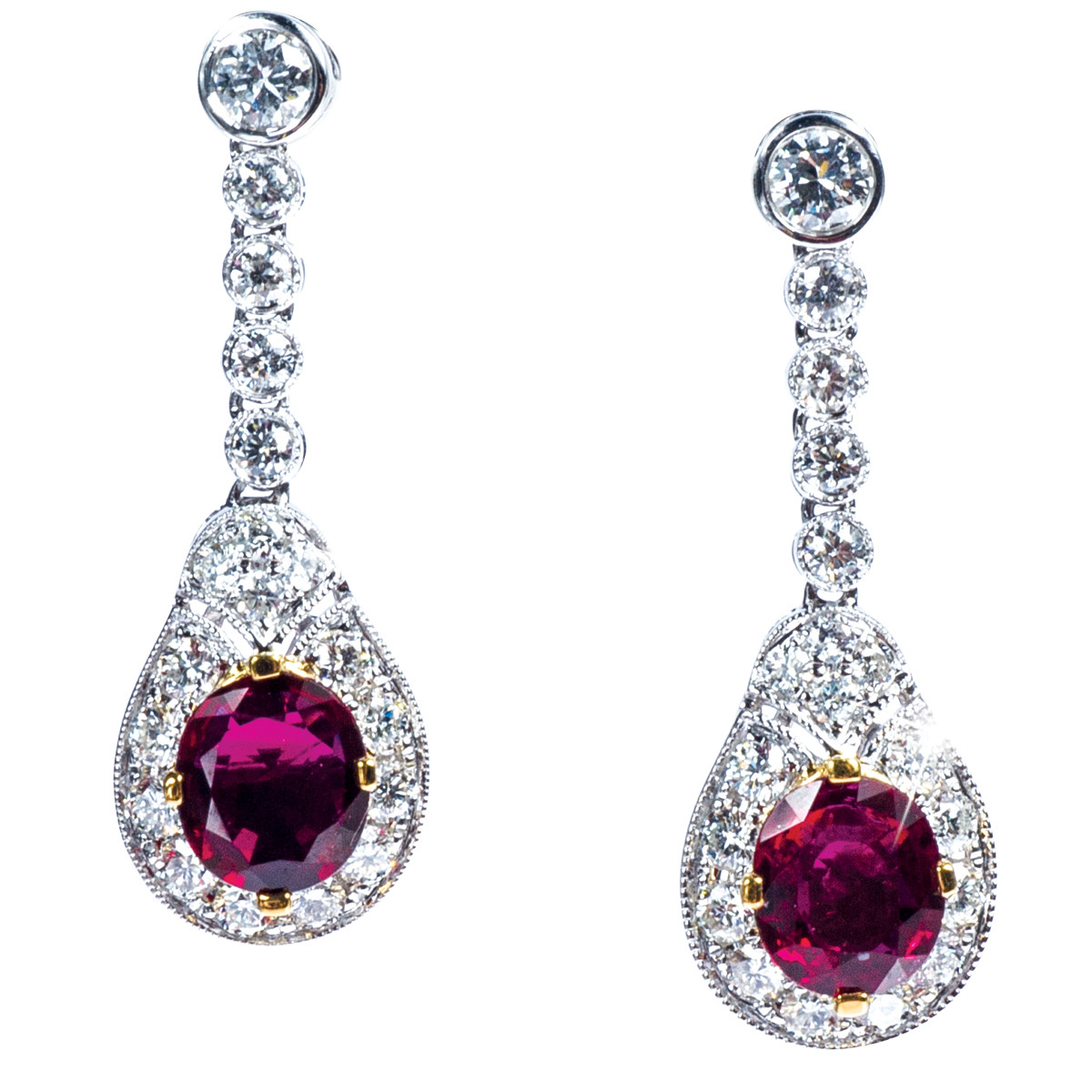 4.30 CTW Natural Ruby and Diamond Drop Earrings