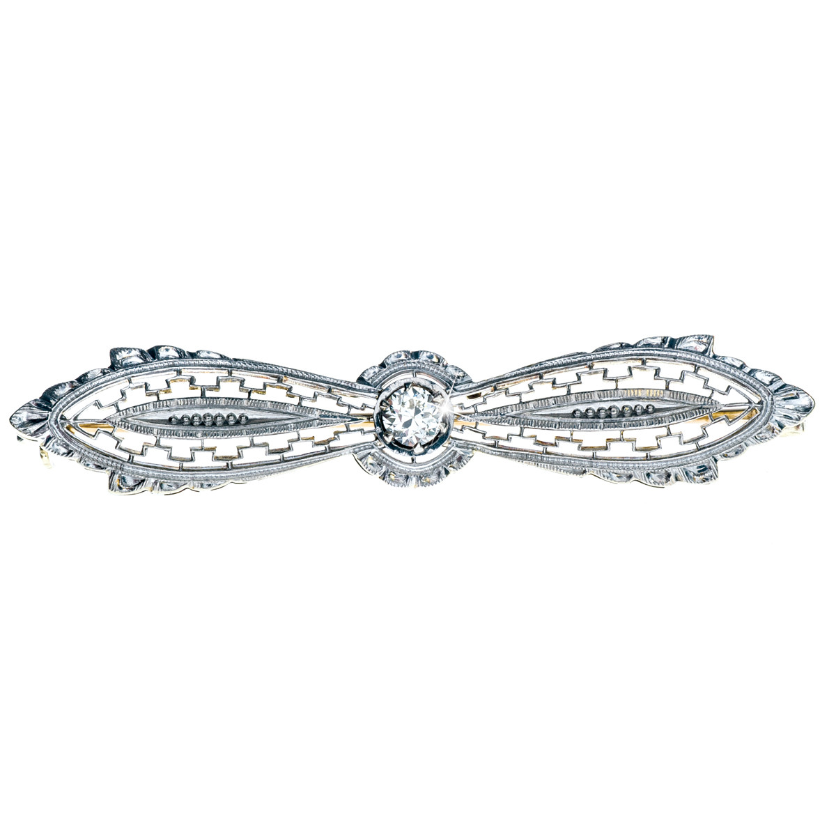 Vintage 14K White Gold Diamond Filigree Pin