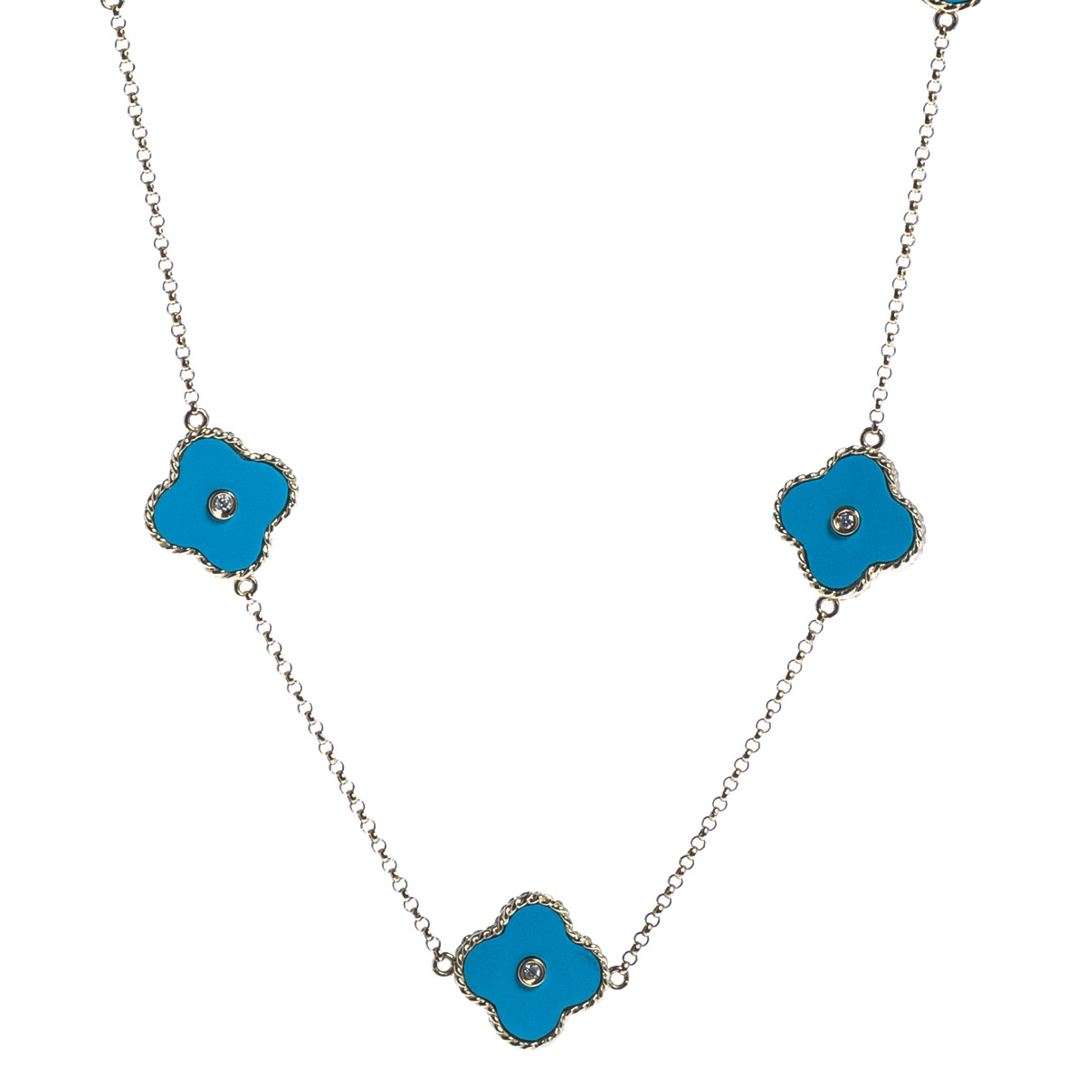 Vintage Synthetic Turquoise & Diamond Clover Necklace