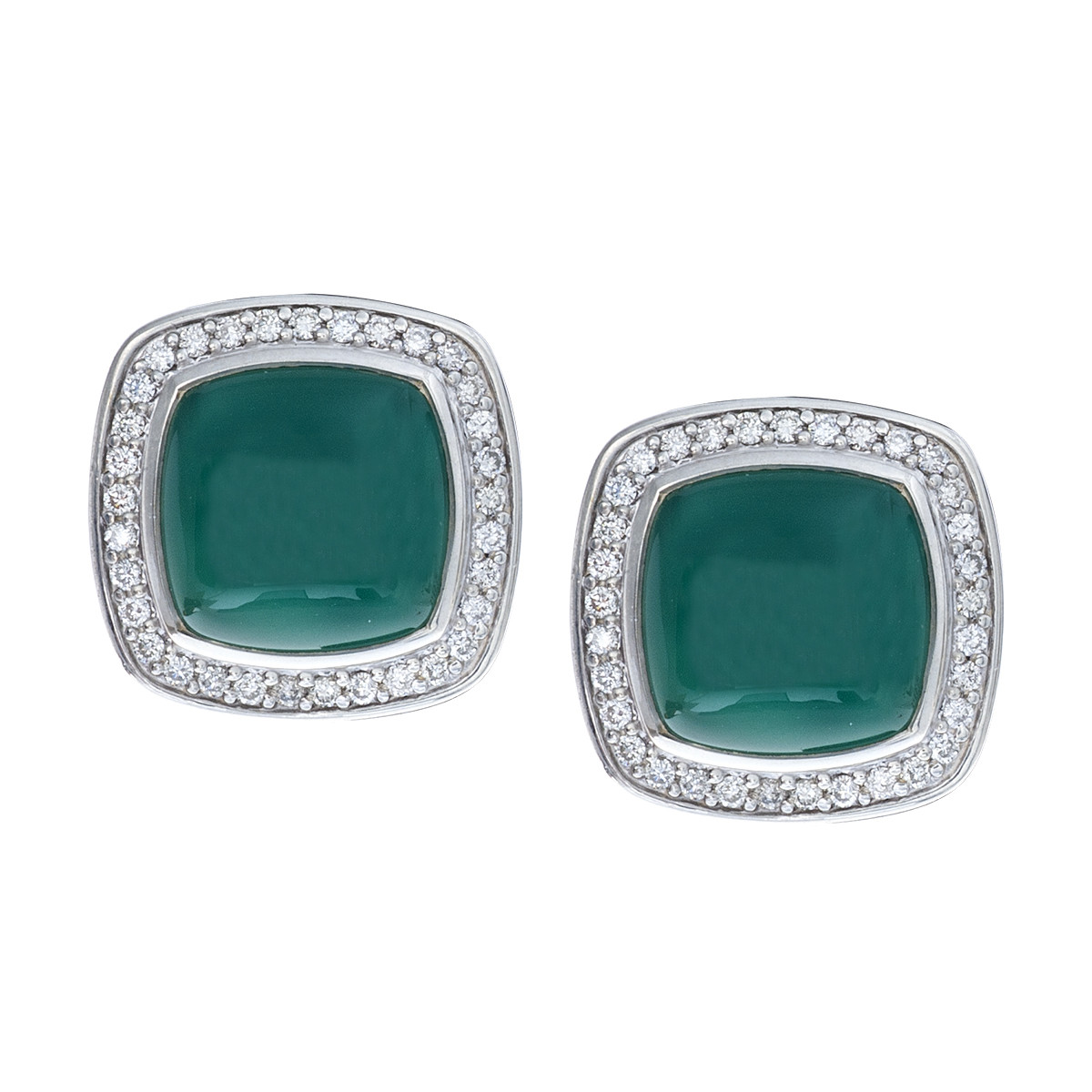 Vintage David Yurman Albion Green Onyx & Diamond Earrings