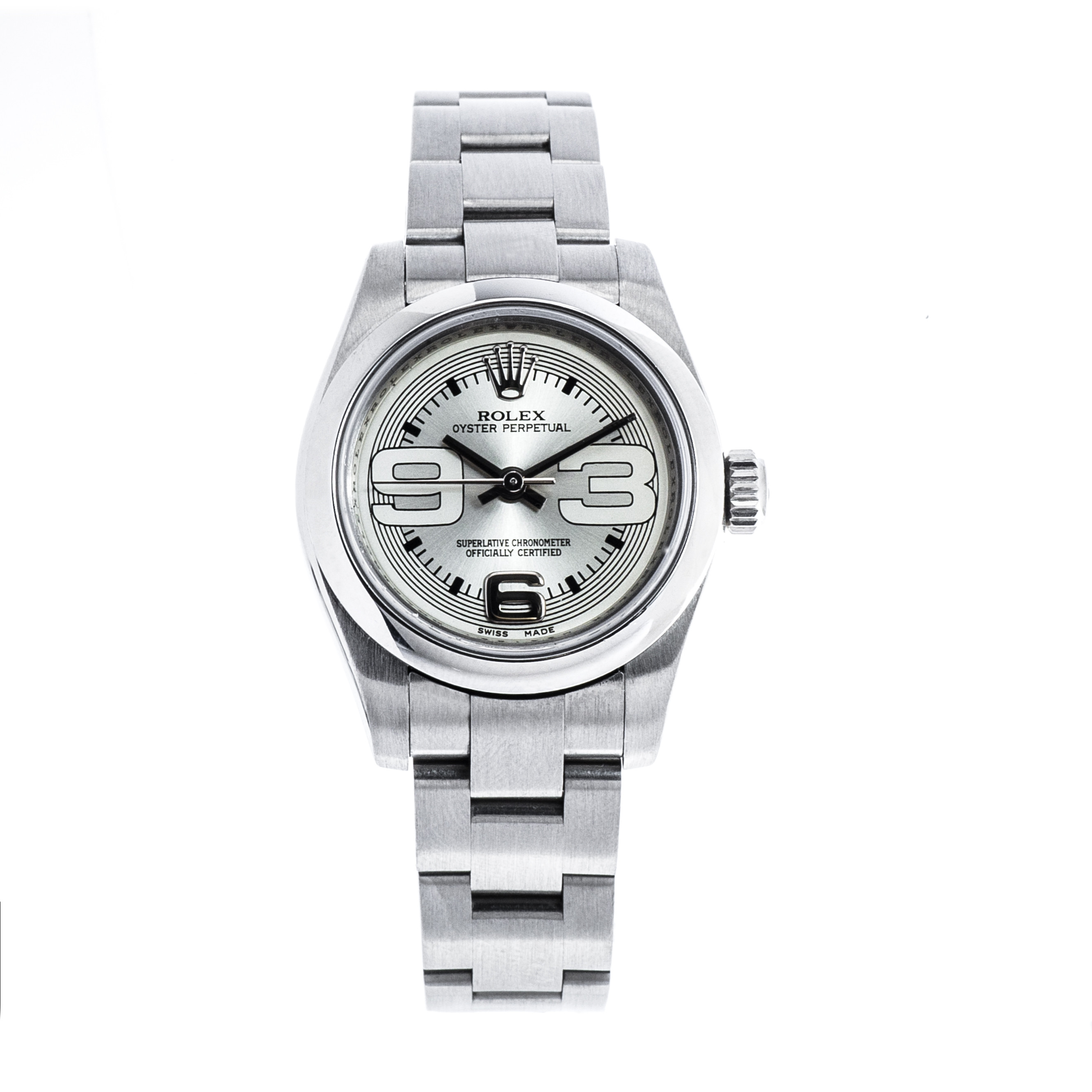 Pre-Owned 26mm Rolex Oyster Perpetual with Silver Dial