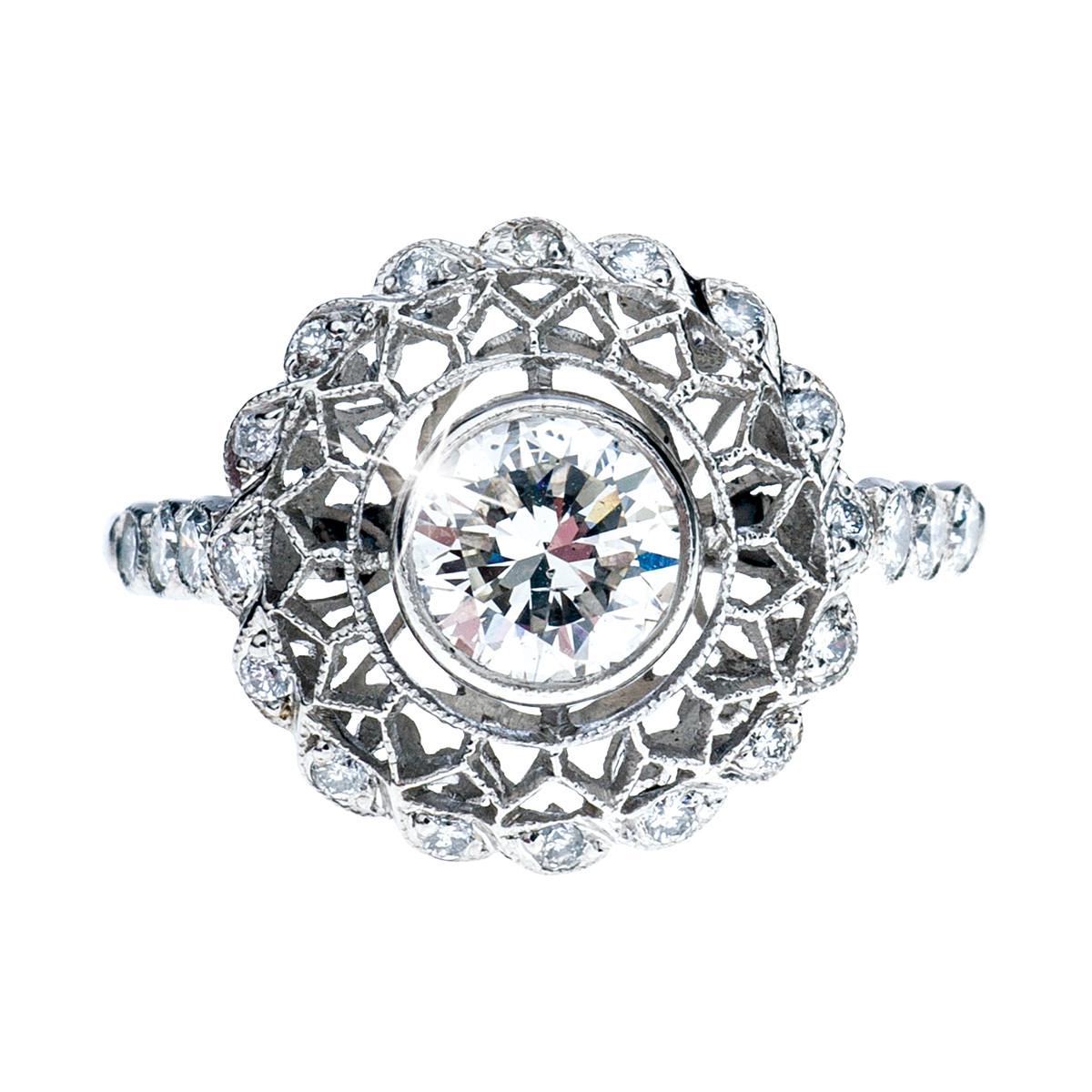 Edwardian Inspired 1.27 CTW Diamond Platinum Ring