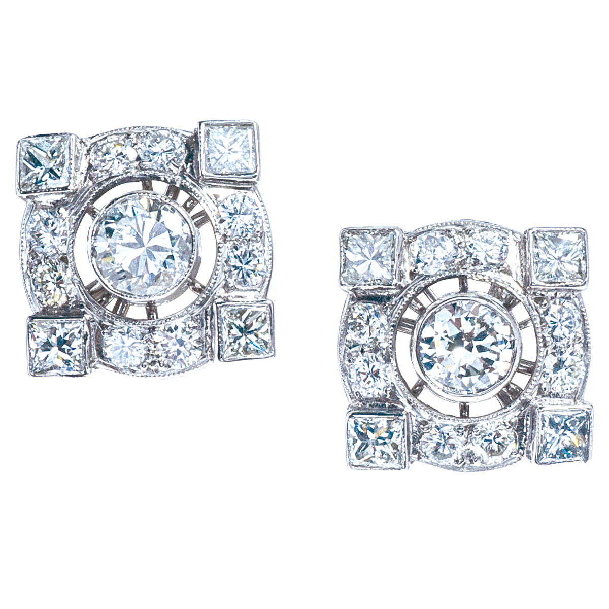 Edwardian Inspired 1.86 CTW Diamond Earrings