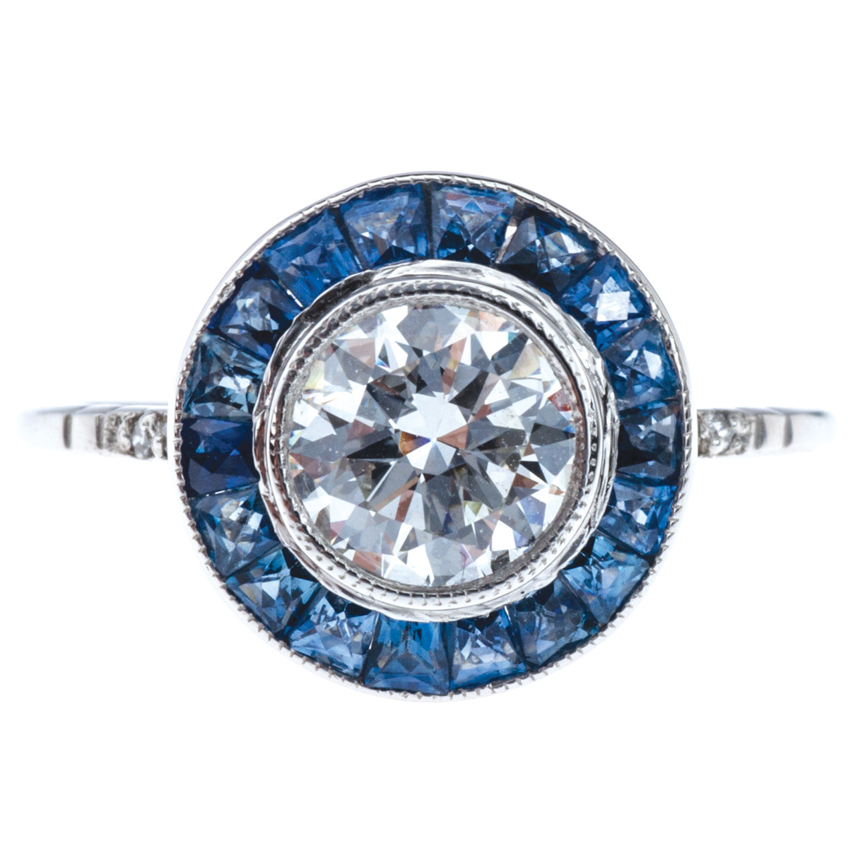 Art Deco Style 2.05 CTW Sapphire & Diamond Engagement Ring