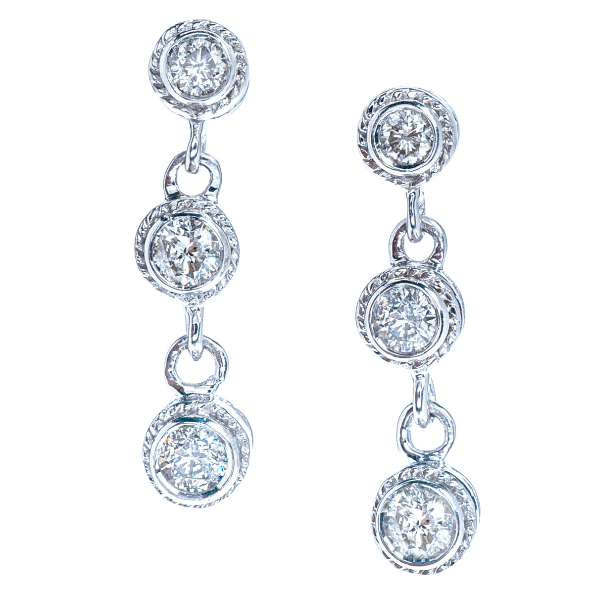 Vintage 0.42 CTW Diamond Dangle Earrings