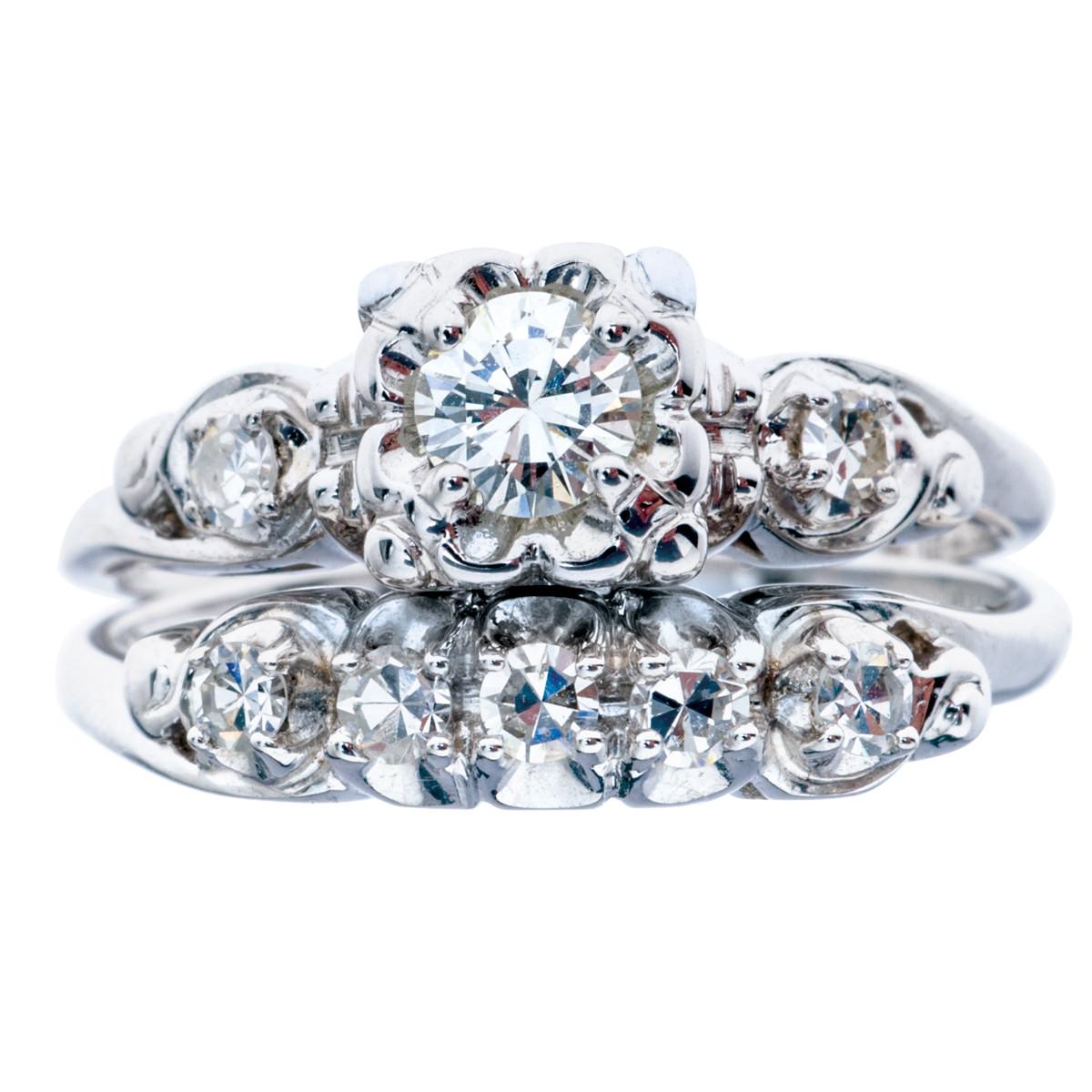 Antique Retro 0.48 CTW Diamond Engagement Ring & Band