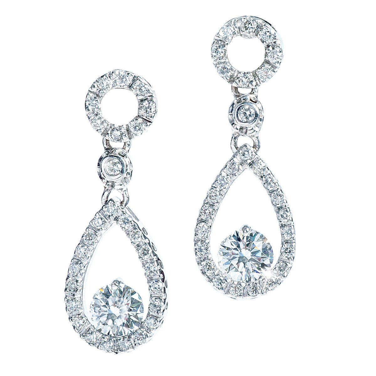 Vintage 0.96 CTW Diamond Dangle Earrings