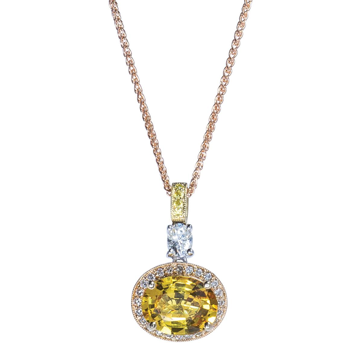 Vintage 2.48 CTW Sapphire & Diamond Pendant