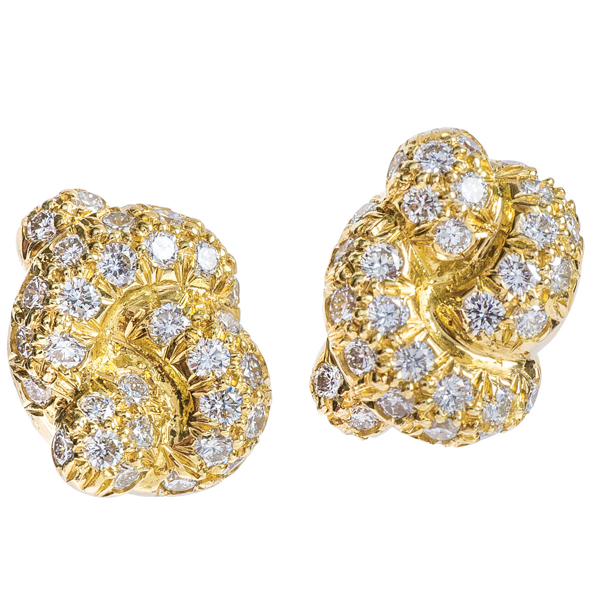 Vintage Angela Cummings Love Knot Diamond Earrings