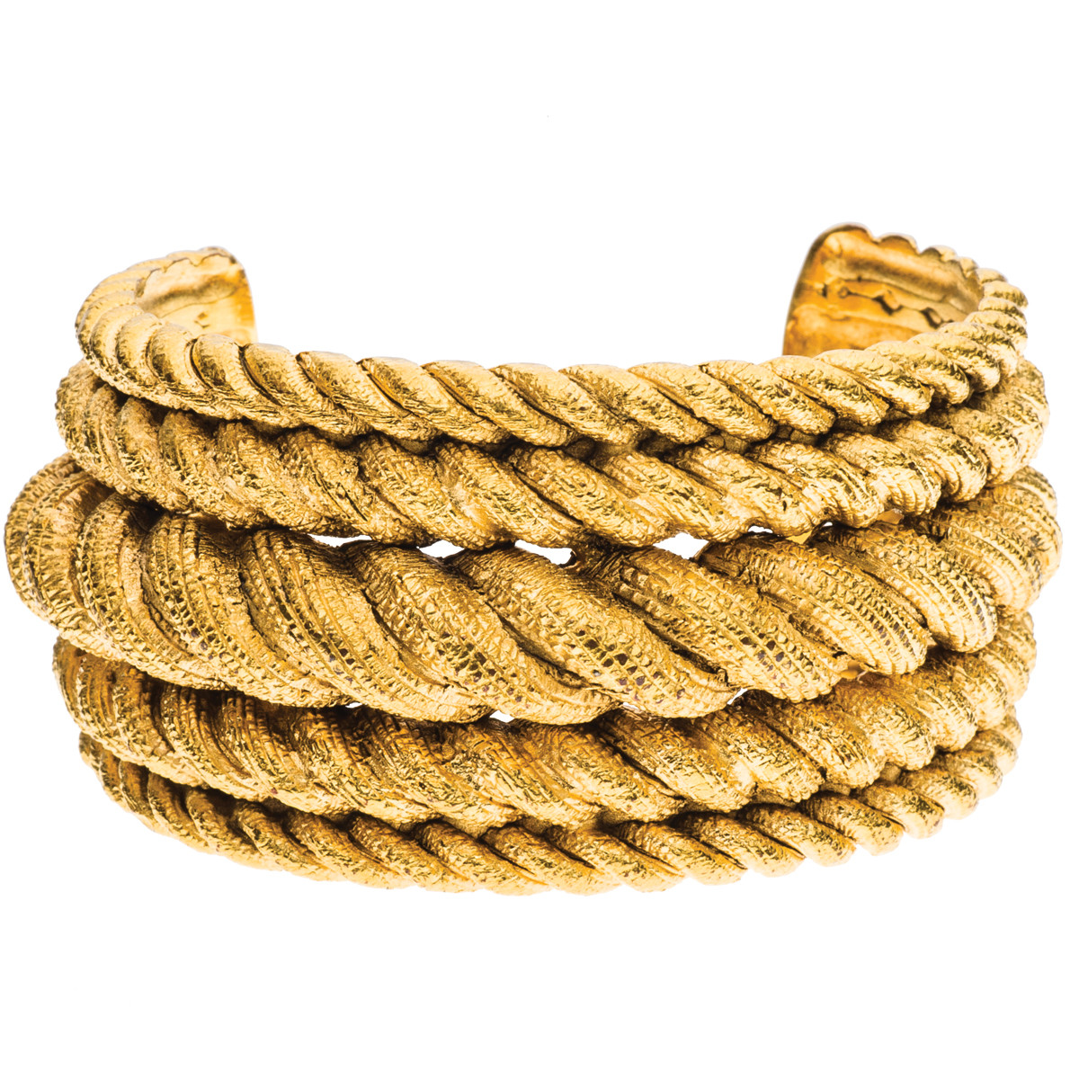 Vintage Chanel Gold Plated Rope Cuff