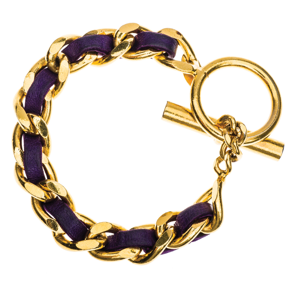Vintage Chanel Purple Lambskin and Gold Plated Toggle Bracelet