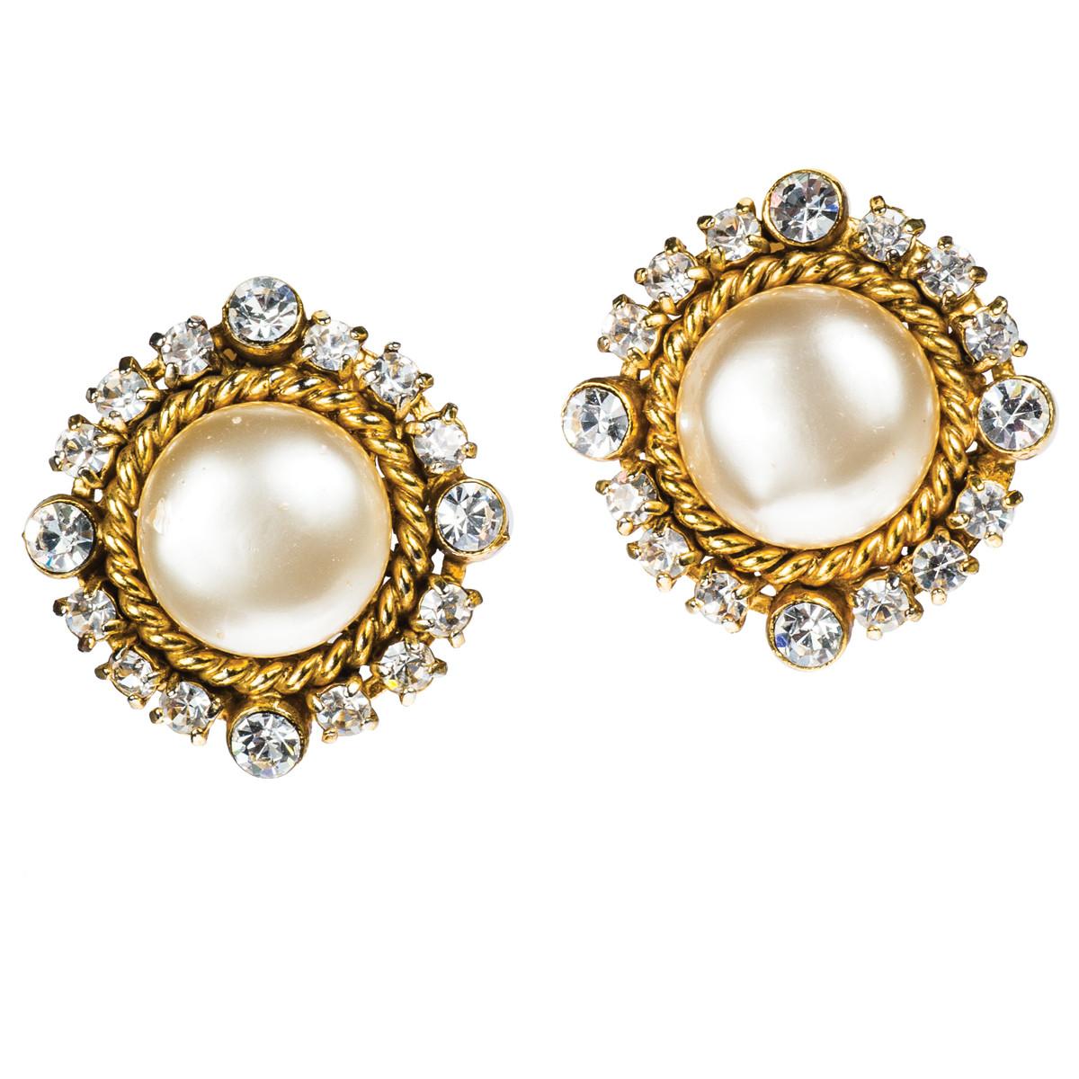Vintage Chanel Pearl and Rhinestone Rope Earrings