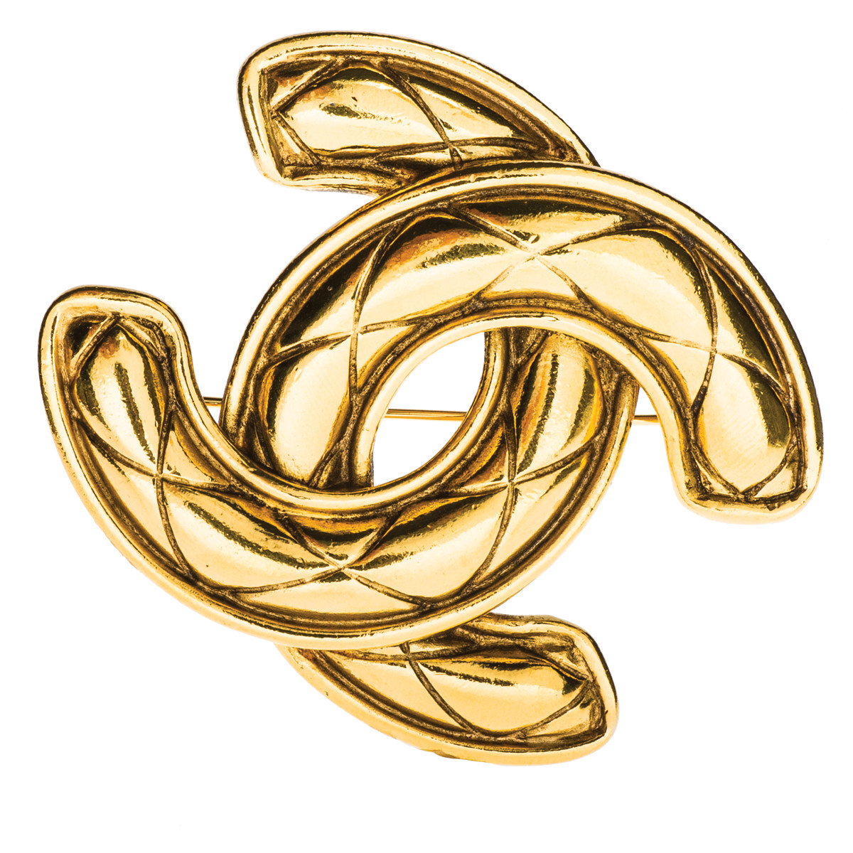 Vintage Chanel Large Quilted Gold Plated Pin