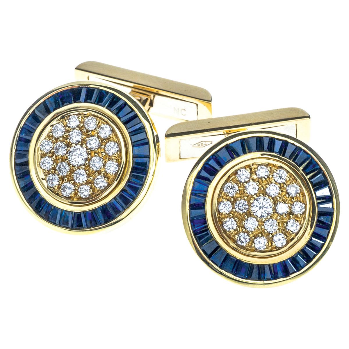 Vintage 2.14 CTW Sapphire & Diamond Cufflinks