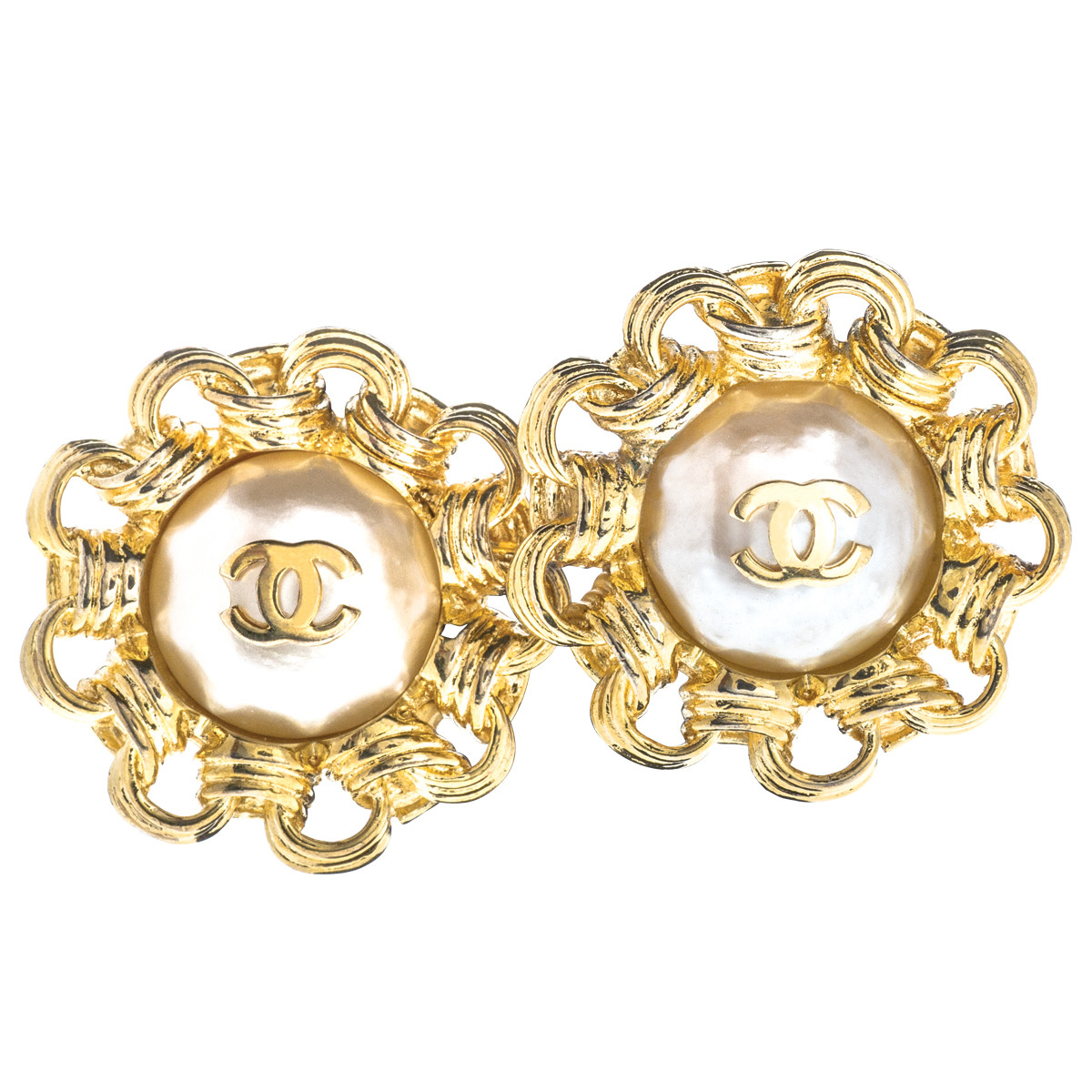 Vintage Chanel Mabe Pearl Chain Link Earrings