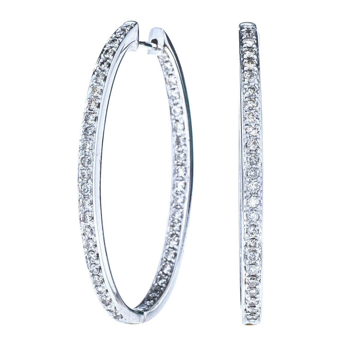 Vintage 0.90 CTW Diamond Hoop Earrings