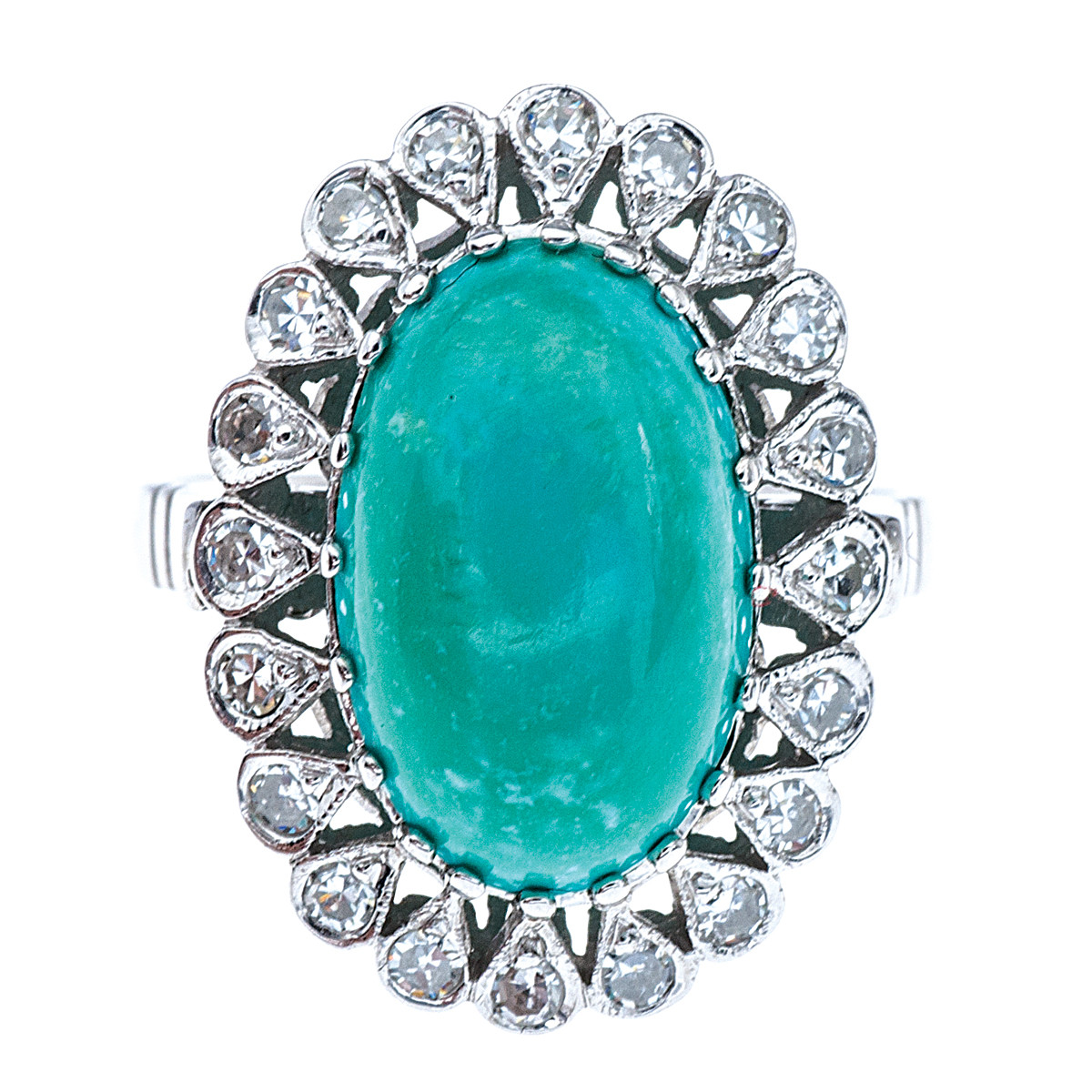 Vintage Cabochon Turquoise and Diamond Ring