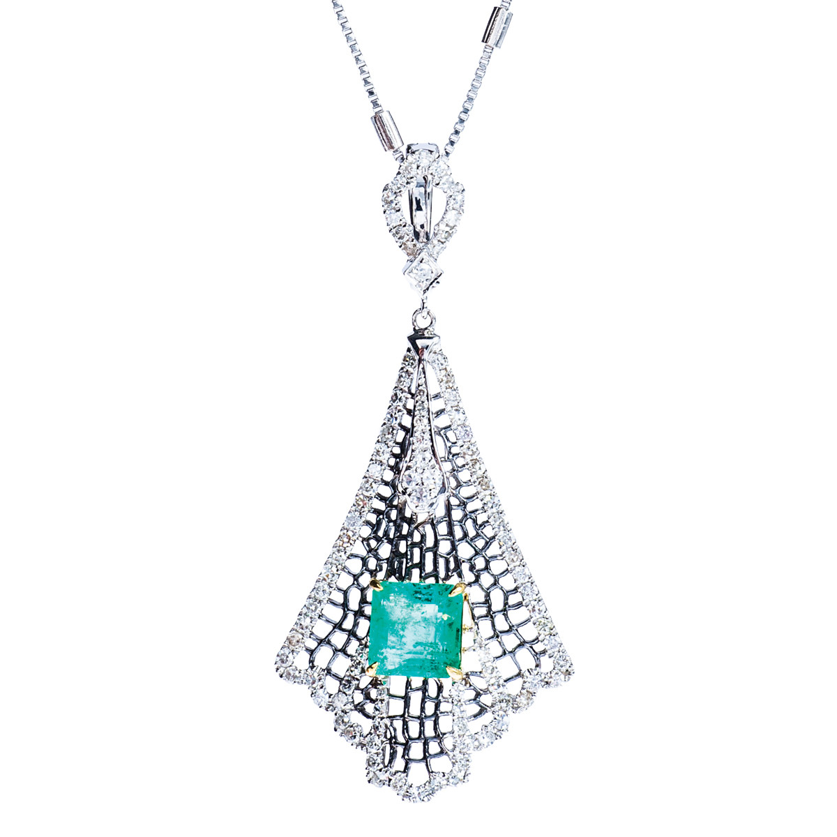 2.47 CTW Emerald & Diamond Spider Web Necklace