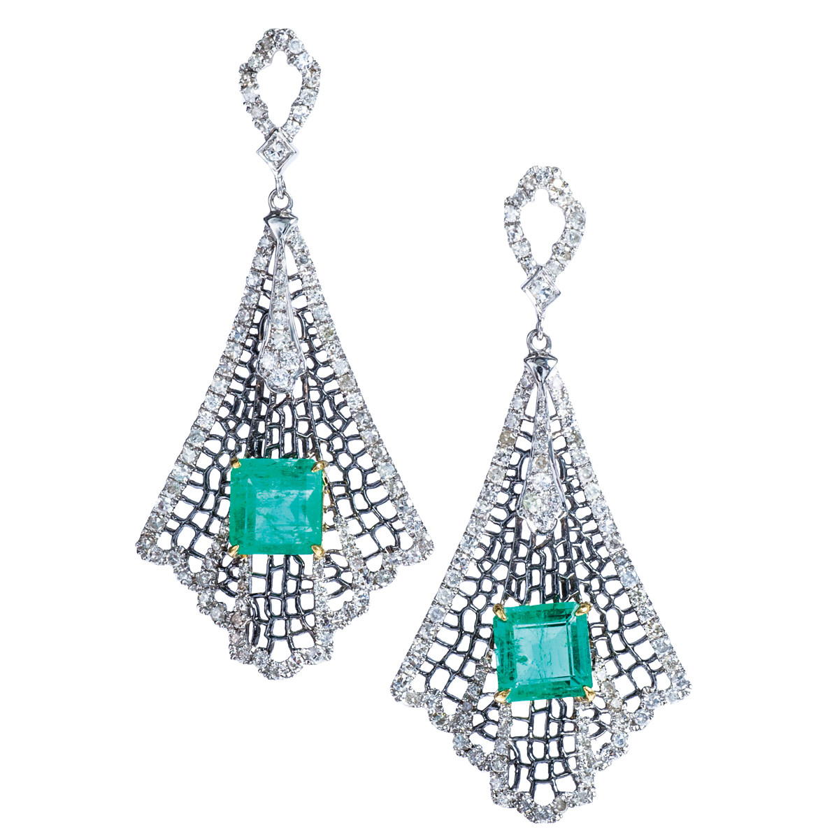 5.00 CTW Emerald & Diamond Spider Web Earrings