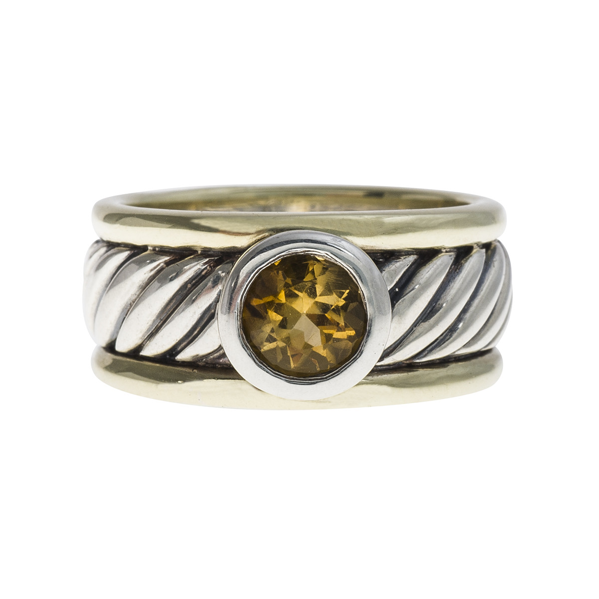 Vintage 14k Gold & Sterling Silver David Yurman Citrine Cable Ring