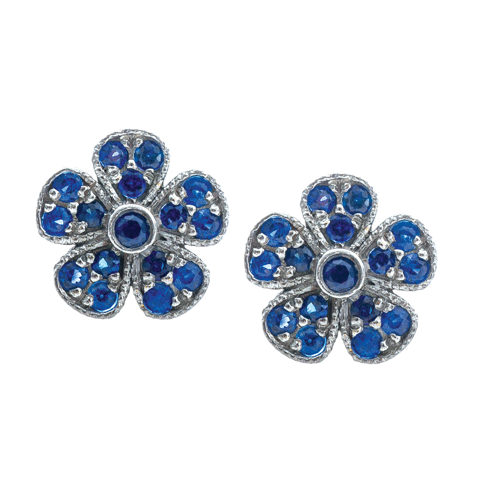 Vintage Colette Steckel Flores Blue Sapphire Earrings