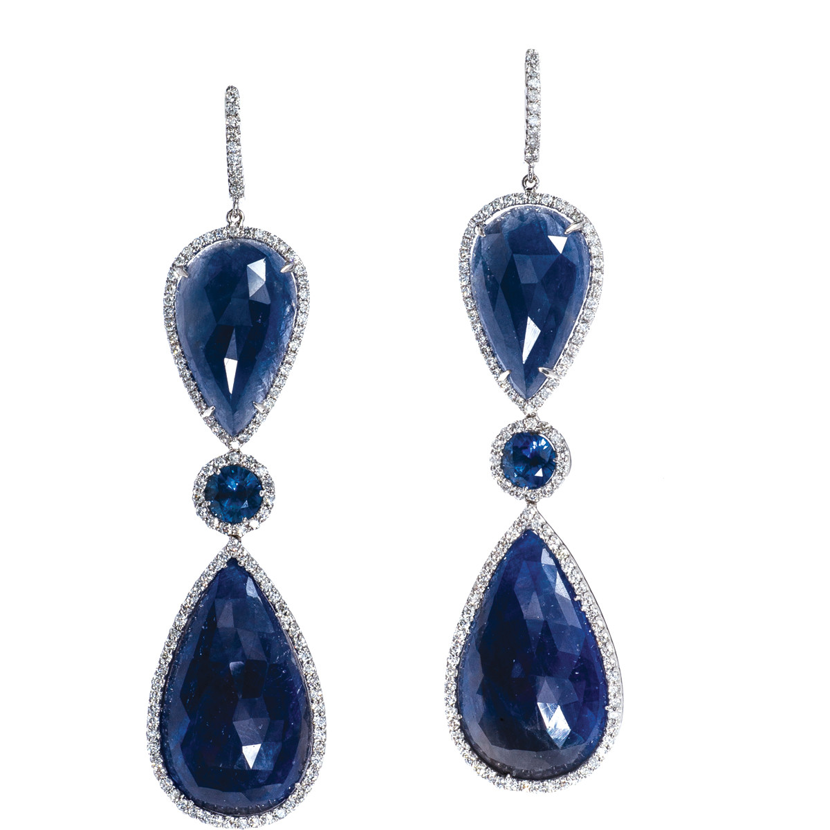 Vintage 46.93 CTW Sapphire and Diamond Dangle Earrings