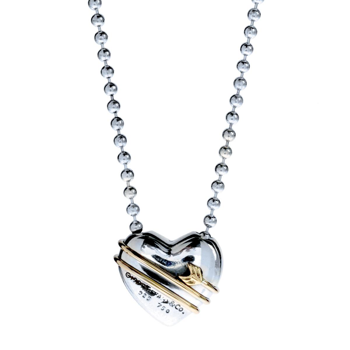 Vintage Tiffany & Co. Puffed Heart & Arrow Pendant