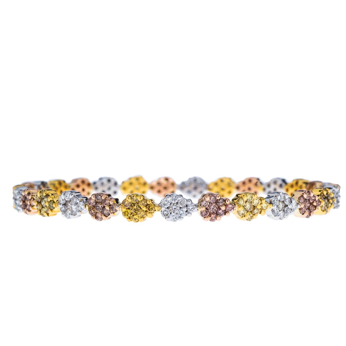 Vintage 5.80 CTW Pink, Yellow & White Diamond Bangle