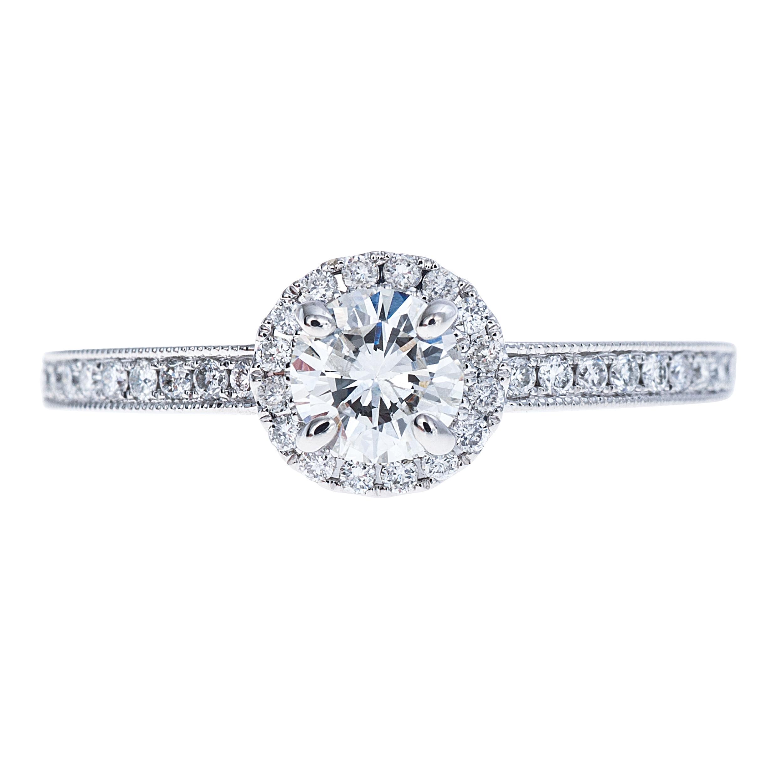 New 0.62 CTW Diamond Halo Engagement Ring