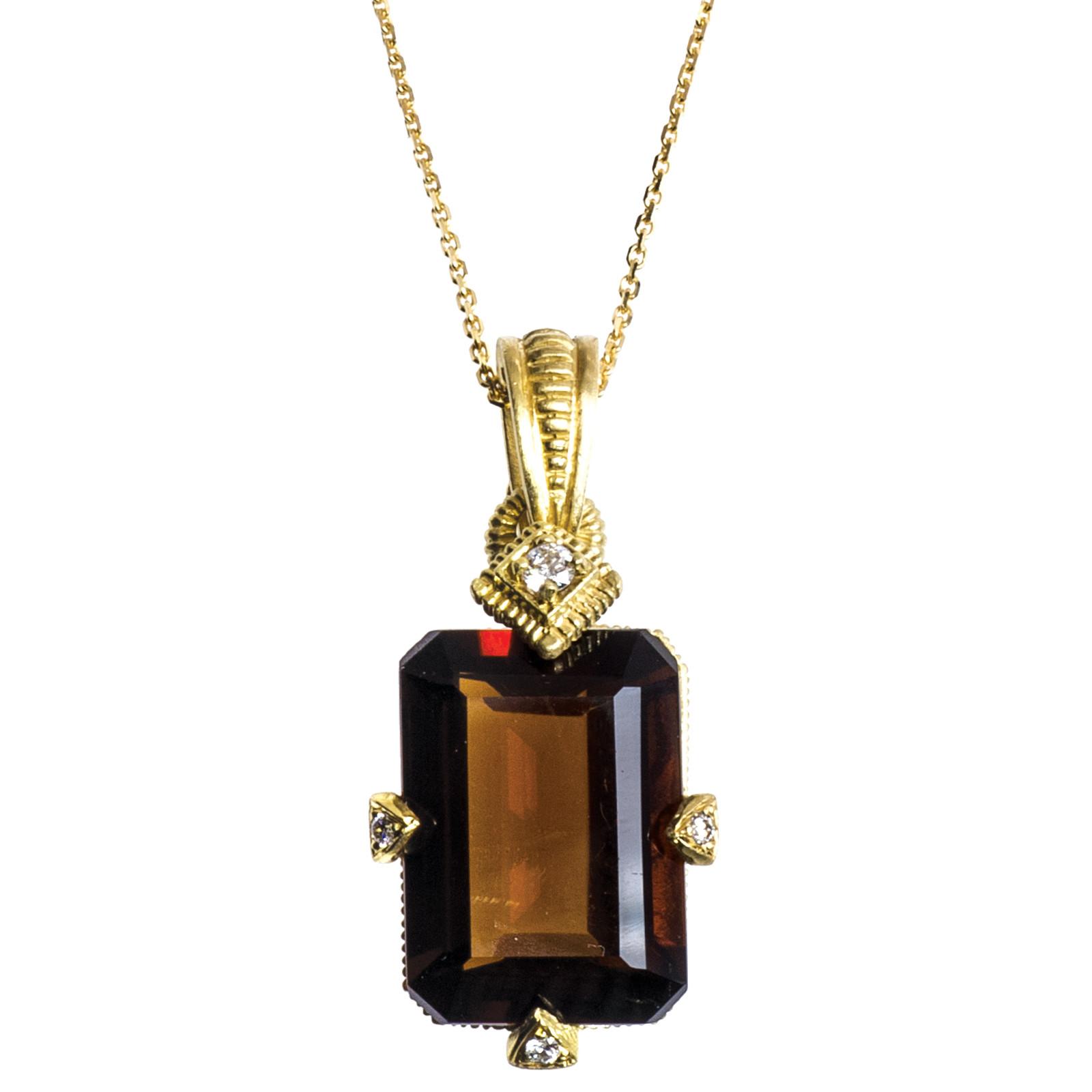 Vintage 12.87 CTW Smoky Quatz & Diamond Necklace