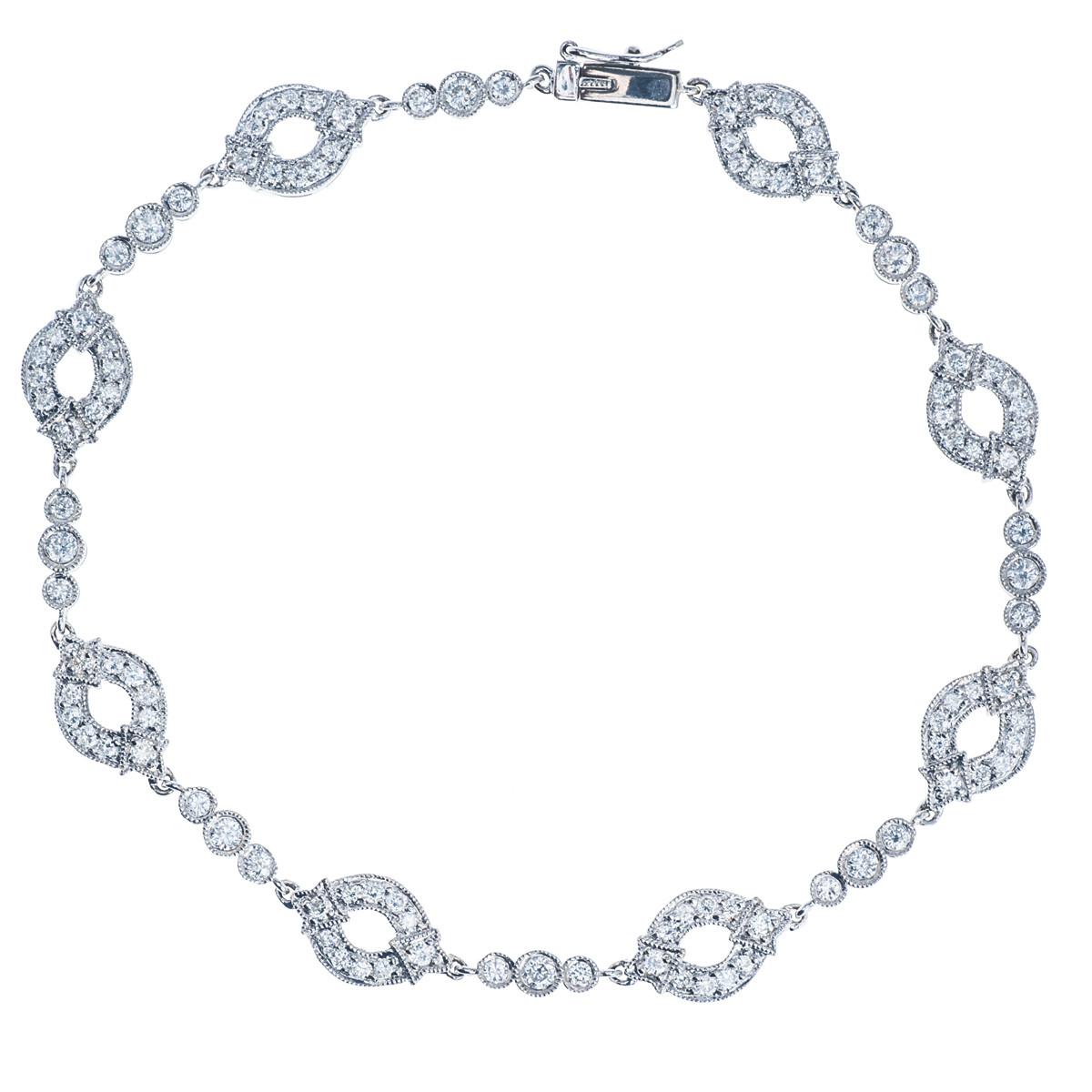 Vintage 1.20 CTW Diamond Oval Bracelet