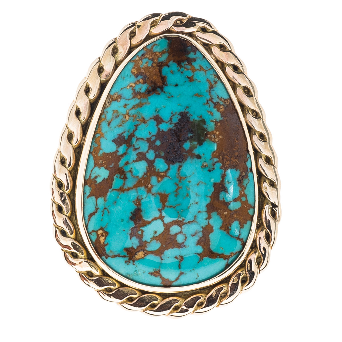 Vintage Turquoise Ring with Rope Detail