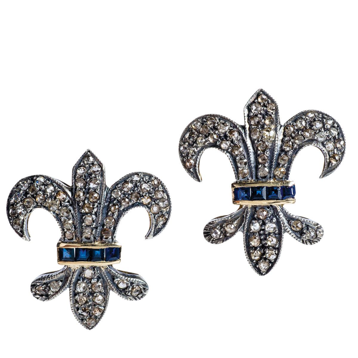 Victorian Diamond & Sapphire Fluer-De-Lis Earrings