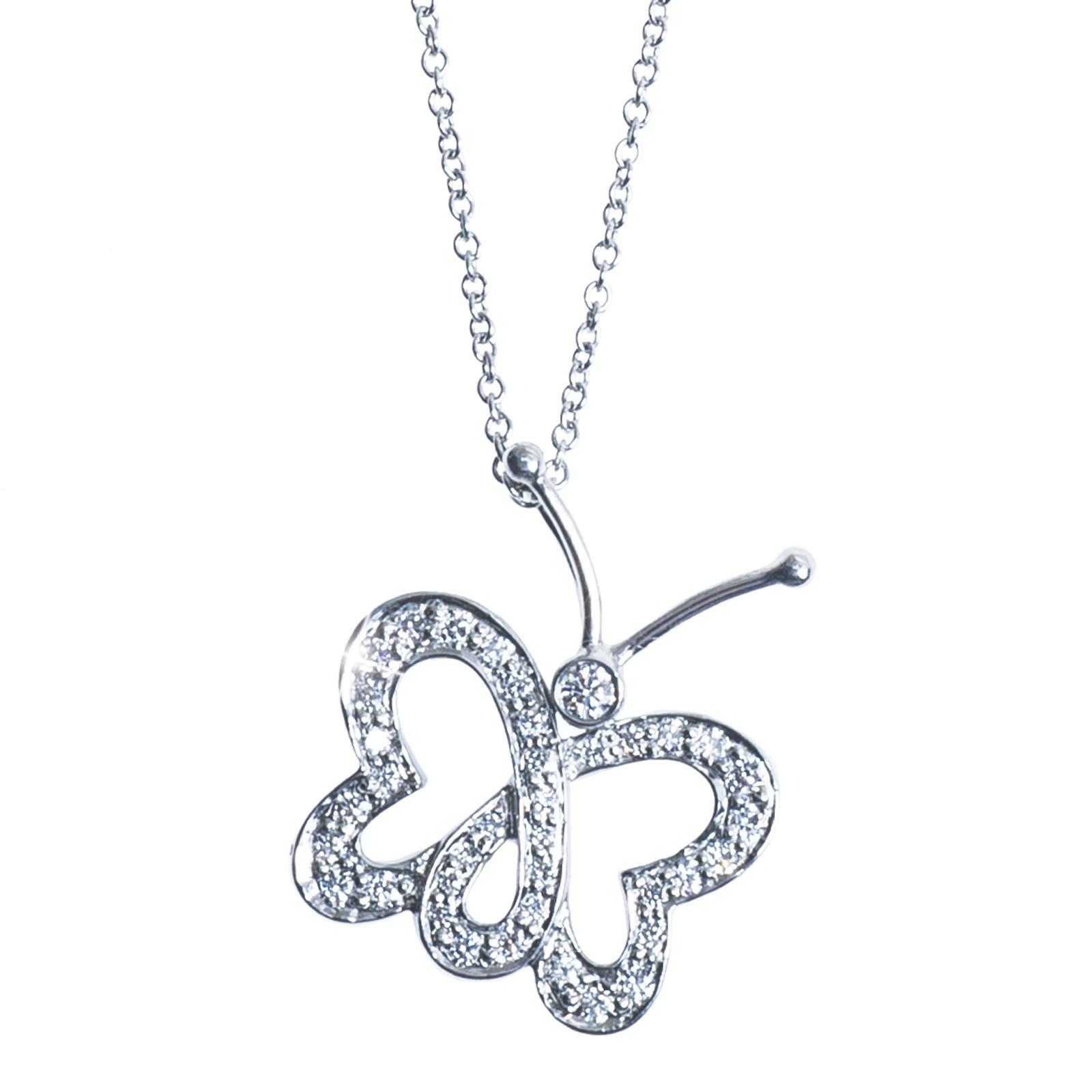 Vintage Tiffany & Co. Diamond Butterfly Pendant