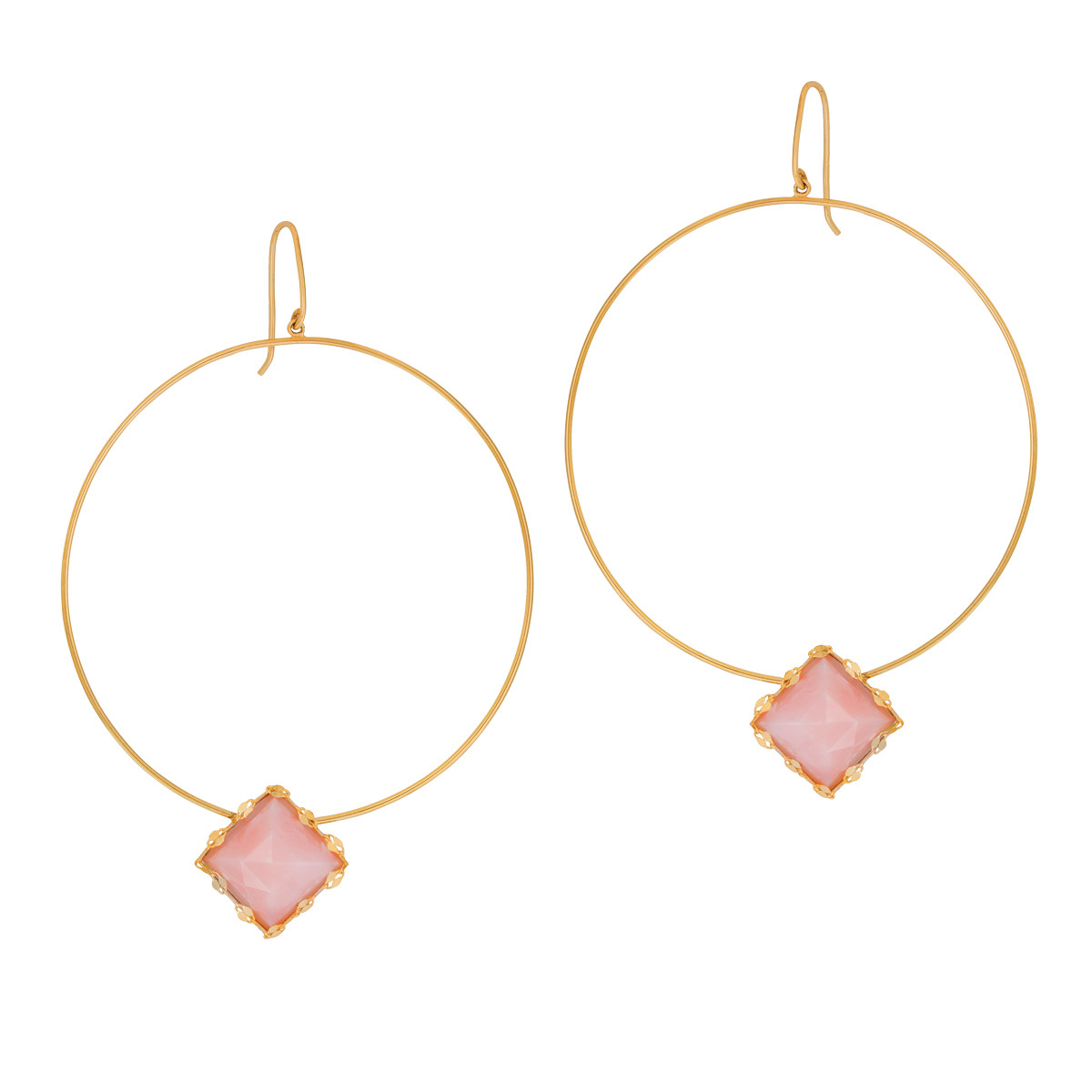 Lana Pink Opal Hoop Earrings