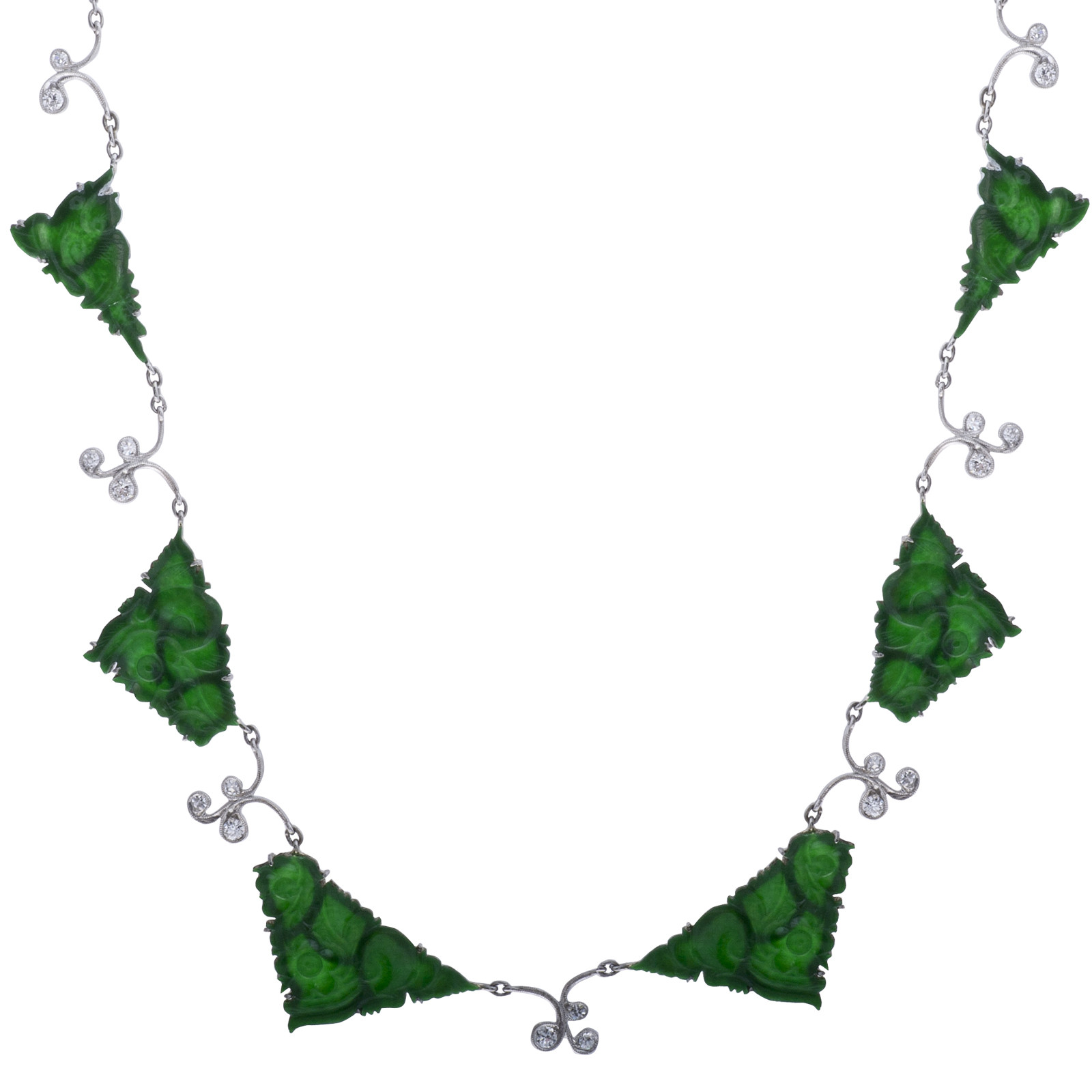 Antique Jadeite & 0.53 CTW Diamond Necklace