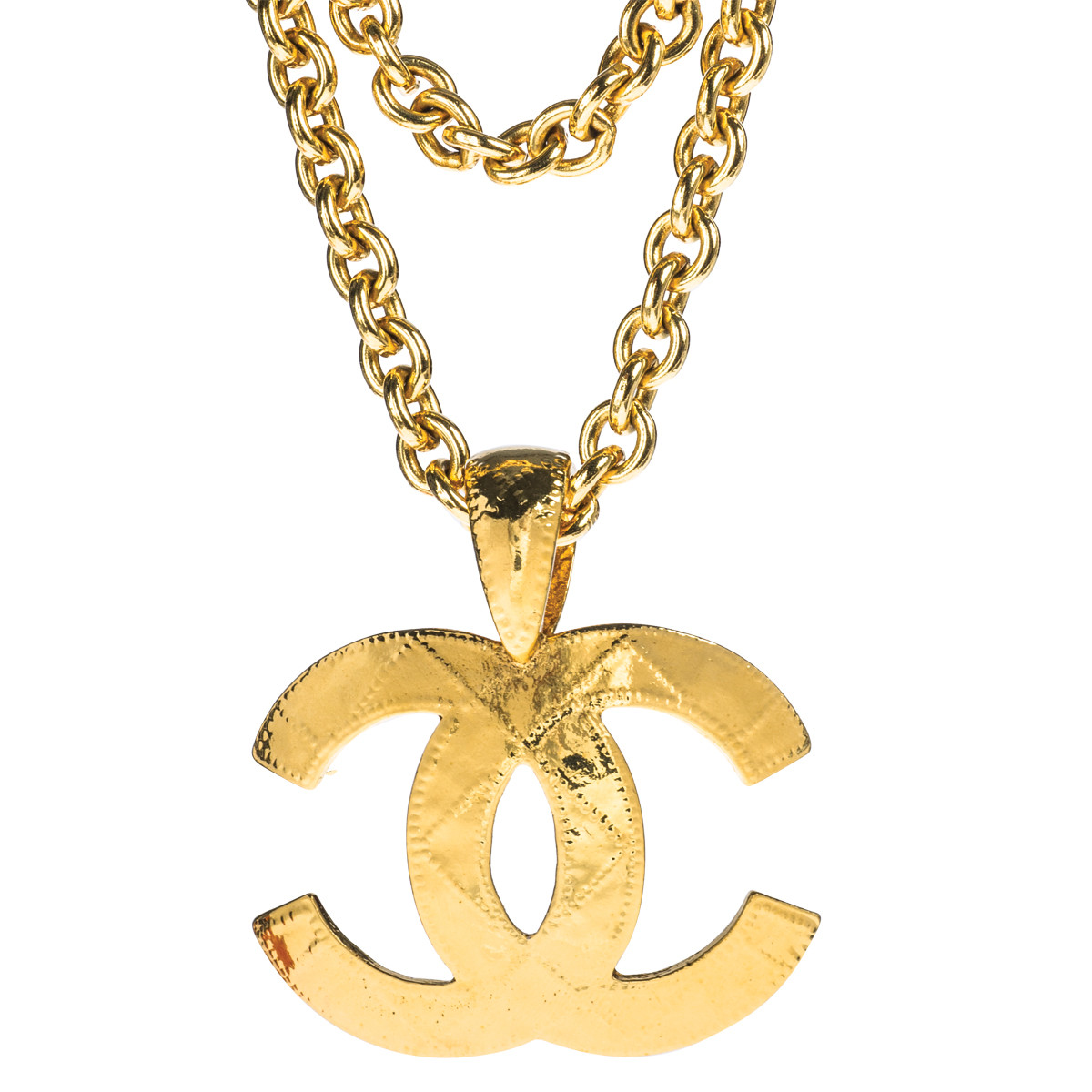 Vintage Chanel Quilted Logo Necklace