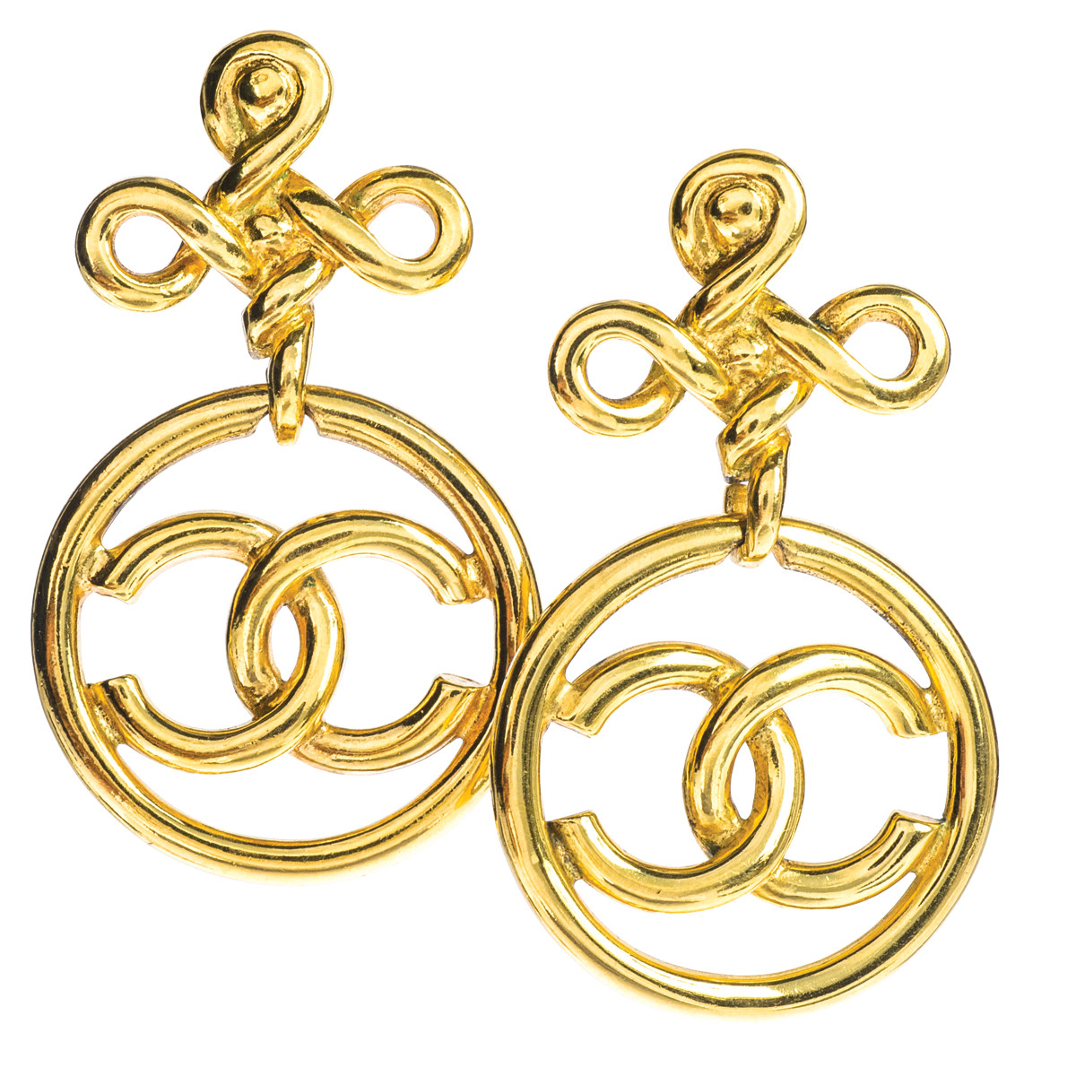 Vintage Chanel Logo Knot Earrings