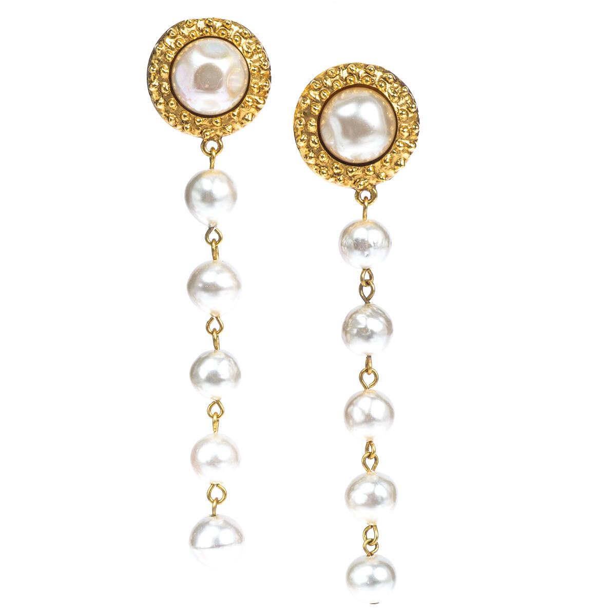 Vintage Chanel Pearl Earrings Gallery Image
