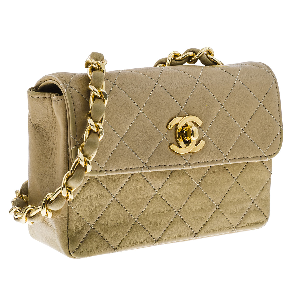 Vintage Chanel Beige Leather Mini Quilted Handbag