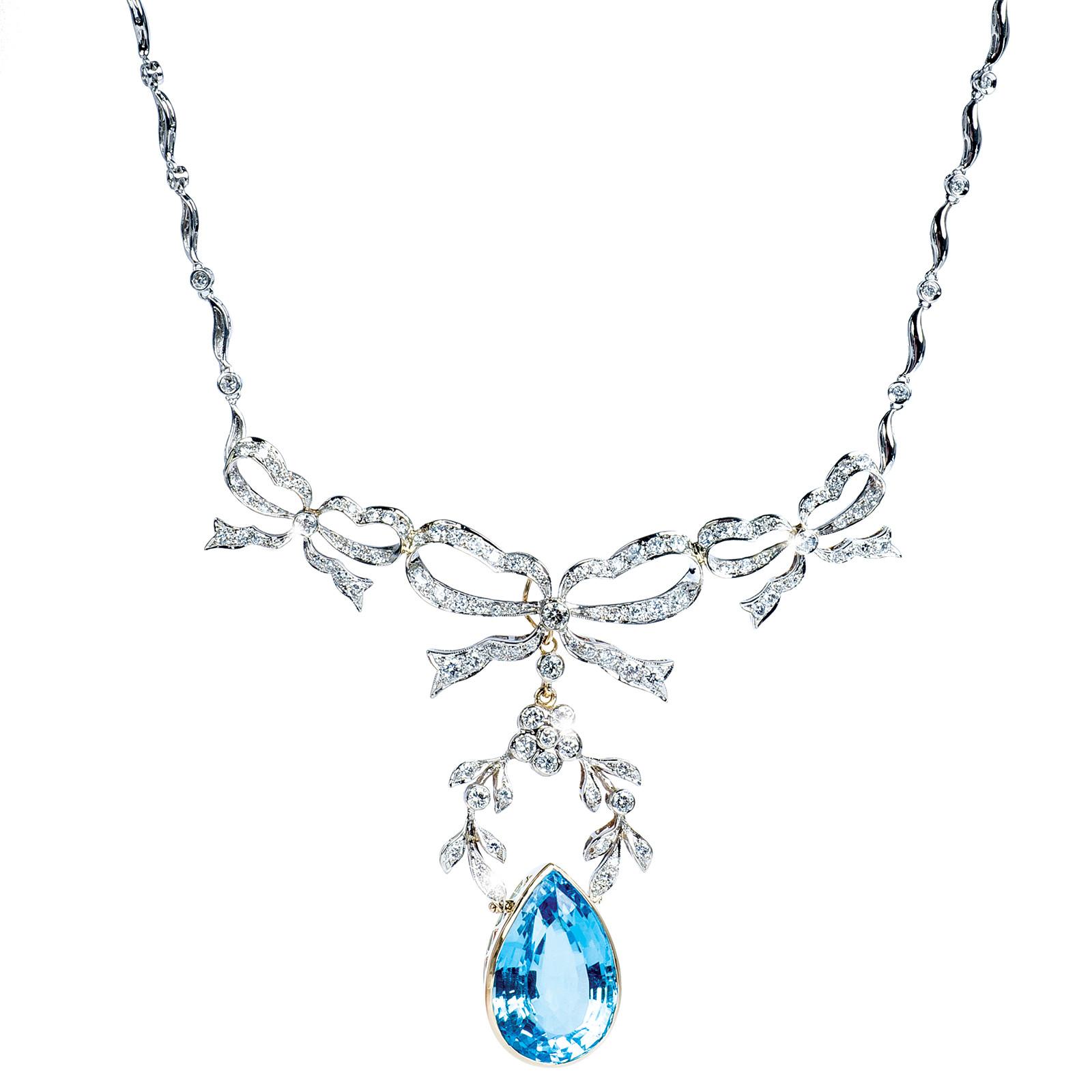 Art Nouveau Style 38.50 CT Topaz & Diamond Necklace